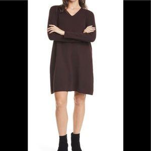 EILEEN FISHER brown Merino Wool Sweater Dress